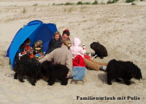 Puli Züchter im Urlaub mit der ganzen Familie